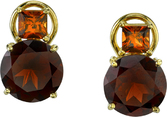Beautiful 18kt Yellow Gold Post Back Earrings With Princess Hessonite Garnets (1.01ctw) & Round Almondite Garnets (8.4ctw)