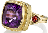Fabulous 18kt Yellow Gold Statement Handmade Ring With Large 6 carat Cushion Amethyst Gem & Red Garnet Side Gems