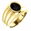 14KT Yellow Gold Onyx Men's Bezel Ring
