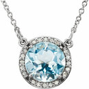 14KT White Gold Sky Blue Topaz & .05 Carat Total Weight Diamond 16