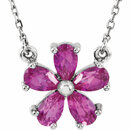 14KT White Gold Chatham Created Pink Sapphire 16
