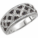 Sterling Silver Black Spinel & 1/8 Carat Total Weight Diamond Ring Size 8