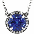 14KT White Gold Chatham Created Blue Sapphire & .05 Carat Total Weight Diamond 16