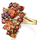 Explosion of Color in Elaborate Hand Crafted Paisley Gemstone Ring With Garnet Gemstones in 18kt Yellow Gold