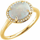 14KT Yellow Gold Opal & .06 Carat Total Weight Diamond Ring