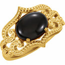 14KT Yellow Gold Onyx Granulated Design Ring