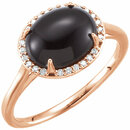 14KT Rose Gold Onyx & .06 Carat Total Weight Diamond Ring