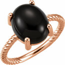 14KT Rose Gold Onyx Cabochon Ring