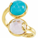 18K Yellow Vermeil Amethyst & Turquoise Ring Size 6