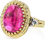 Eye Catching 9.40ct Cabochon Oval Rubellite Tourmaline Gemstone Hand Crafted Ring in 18kt White & Yellow Gold - SOLD
