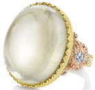 Striking Large 29.76ct Cabochon Oval Moonstone Hand Carved Gemstone Ring With Diamond Side Gems in 18kt Gold - SOLD