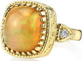 Color Pop Bright Orange 6.4 carat Cushion Ethiopian Oval Handmade Ring in 18kt Yellow Gold - Diamond Side Gems - SOLD