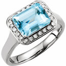 14KT White Gold 1/8 Carat Total Weight Diamond & 9x7mm Aquamarine Ring
