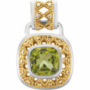 Sterling Silver & 14KT Yellow Gold Peridot & 1/8 Carat Total Weight Diamond Pendant