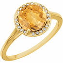 14KT Yellow Gold Citrine and .05Carat Total Weight Diamond Ring