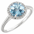 14KT White Gold Sky Blue Topaz and .05Carat Total Weight Diamond Ring