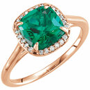 14KT Rose Gold Emerald & .055 Carat Total Weight Diamond Halo-Style Ring