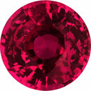 Bright Loose Ruby Gem in Round Cut, Deep  Red Color, 5.38 mm, 0.82 carats