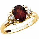 14KT Yellow Gold Mozambique Garnet & .06 Carat Total Weight Diamond Accented Ring