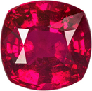 Fiery Pinkish Ruby Loose Gem in Cushion Cut, Open Pinkish Red, 5.4 x 5.4 mm, 0.92 carats