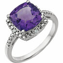 14KT White Gold Amethyst & .03 Carat Total Weight Diamond Ring