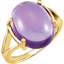 18K Yellow 16x12mm Cabochon Amethyst Ring