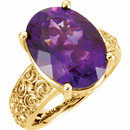 14KT Yellow Gold 16x12mm Amethyst Sculptural-Inspired Ring