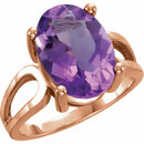 14KT Rose Gold 14x10mm Oval Amethyst Ring