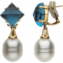 Aquarella South Sea Cultured Pearl & London Blue Topaz Earrings