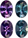 Real Alexandrite Matched Pair in Oval Cut, Top Color Change Blue Green to Eggplant Colors, 4 x 3 mm, 0.37 carats