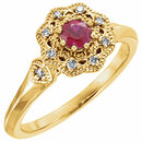 14KT Yellow Gold Ruby & 1/10 Carat Total Weight Diamond Ring