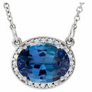 14KT White Gold Chatham Created Blue Sapphire & .05 Carat Total Weight Diamond 16.5
