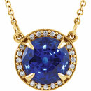 14KT Yellow Gold Chatham Created Blue Sapphire & .05 Carat Total Weight Diamond 16