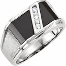 14KT White Gold Men's Onyx & 1/8 Carat Total Weight Diamond Ring