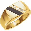 14KT Yellow Gold Men's Onyx & 1/10 Carat Total Weight Diamond Ring