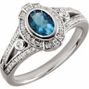 14KT White Gold 1/3 Carat Total Weight Diamond & 7x5mm Aquamarine Ring