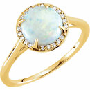14KT Yellow Gold Opal & .05 Carat Total Weight Diamond Ring