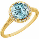 14KT Yellow Gold Sky Blue Topaz and .05Carat Total Weight Diamond Ring