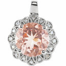 14KT White Gold 9mm Morganite & .08 Carat Total Weight Diamond Pendant