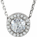 14KT White Gold 5mm Round Forever Classic Moissanite & .05 Carat Total Weight Diamond 16