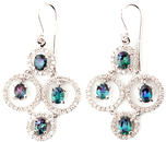 Magnificent Bubbly Style Genuine Alexandrite and Diamond Wire Back Earrings in 14k White Gold - 2.61 carats, 4.20 X 3.60 mm