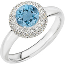 Popular Aquamarine Stone Deep Blue 1.2ct 6mm Solitaire White 14 kt White Gold Pave Diamond Mounting for SALE