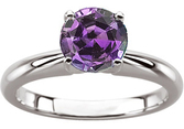 Round Cut FINE 4mm, .25 ct Genuine Alexandrite Engagement  Solitaire Ring, 4 prong in 14 karat white gold
