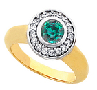 Round Cut Real 4mm GEM Quality Alexandrite in AAA Grade Bezel Set in Diamond  Engagement Gold Ring