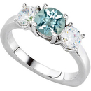 Exquisite 3-Stone Engagement Ring With Large Fine 1.4ct 8mm GEM Aquamarine Center & 1 carat Diamond Accents