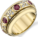 Exquisite Hand Crafted 18kt Yellow Heavy Gold Band Ring With 8 Round Rubies & 35 Diamonds