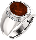 Chunky Gents 14 Karat White Gold 12x10mm Oval Mozambique Garnet & 1/8 Carat Total Weight Diamond Ring