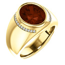 Chunky Gents 14 Karat Yellow Gold 12x10mm Oval Mozambique Garnet & 1/8 Carat Total Weight Diamond Ring