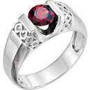 Scroll Style Sterling Silver Men's 7mm Round Mozambique Garnet Ring