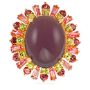 Andrew Sarosi Classic - Lavender Chacedony Ring set with Pink Tourmaline, Peridot & Garnets - SOLD